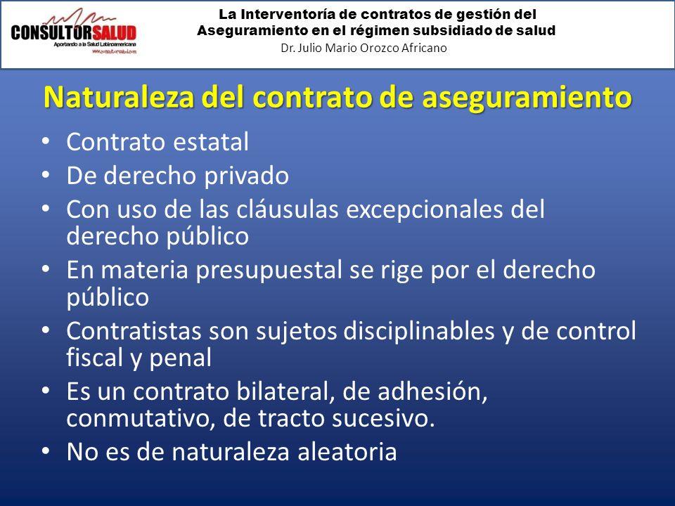La Interventoría de contratos de gestión del Aseguramiento en el régimen subsidiado de salud Dr. Julio Mario Orozco Africano Naturaleza del contrato d
