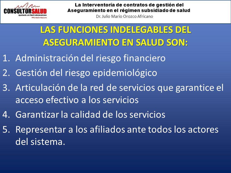 La Interventoría de contratos de gestión del Aseguramiento en el régimen subsidiado de salud Dr. Julio Mario Orozco Africano LAS FUNCIONES INDELEGABLE