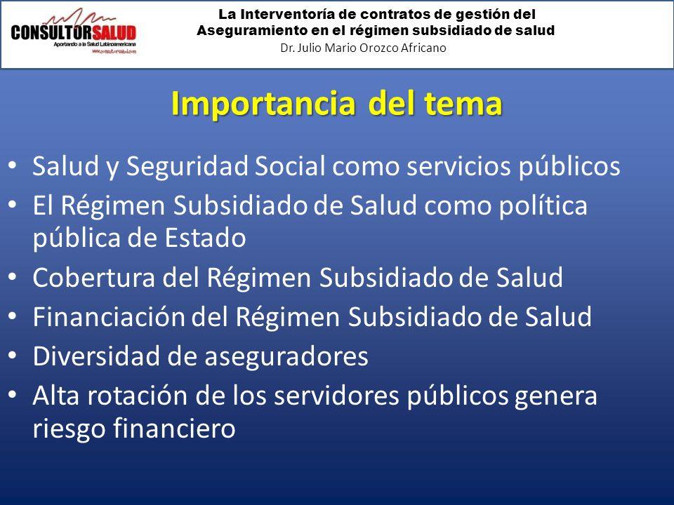 La Interventoría de contratos de gestión del Aseguramiento en el régimen subsidiado de salud Dr. Julio Mario Orozco Africano Importancia del tema Salu
