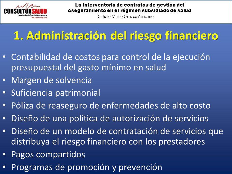 La Interventoría de contratos de gestión del Aseguramiento en el régimen subsidiado de salud Dr. Julio Mario Orozco Africano 1. Administración del rie