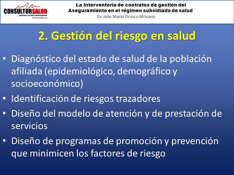 La Interventoría de contratos de gestión del Aseguramiento en el régimen subsidiado de salud Dr. Julio Mario Orozco Africano 2. Gestión del riesgo en