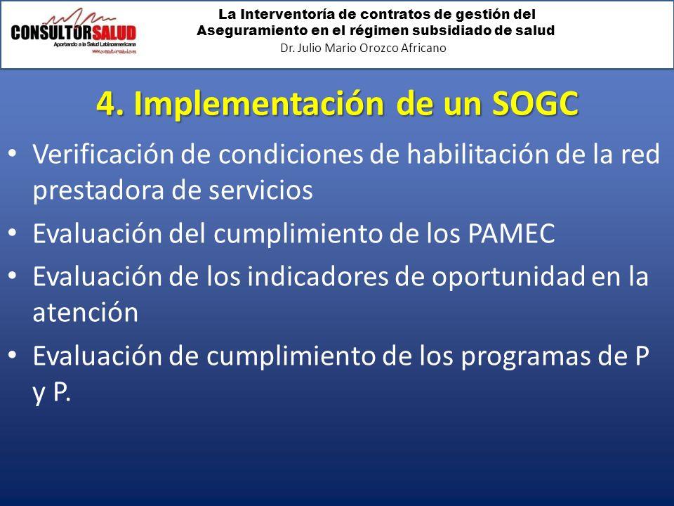 La Interventoría de contratos de gestión del Aseguramiento en el régimen subsidiado de salud Dr. Julio Mario Orozco Africano 4. Implementación de un S