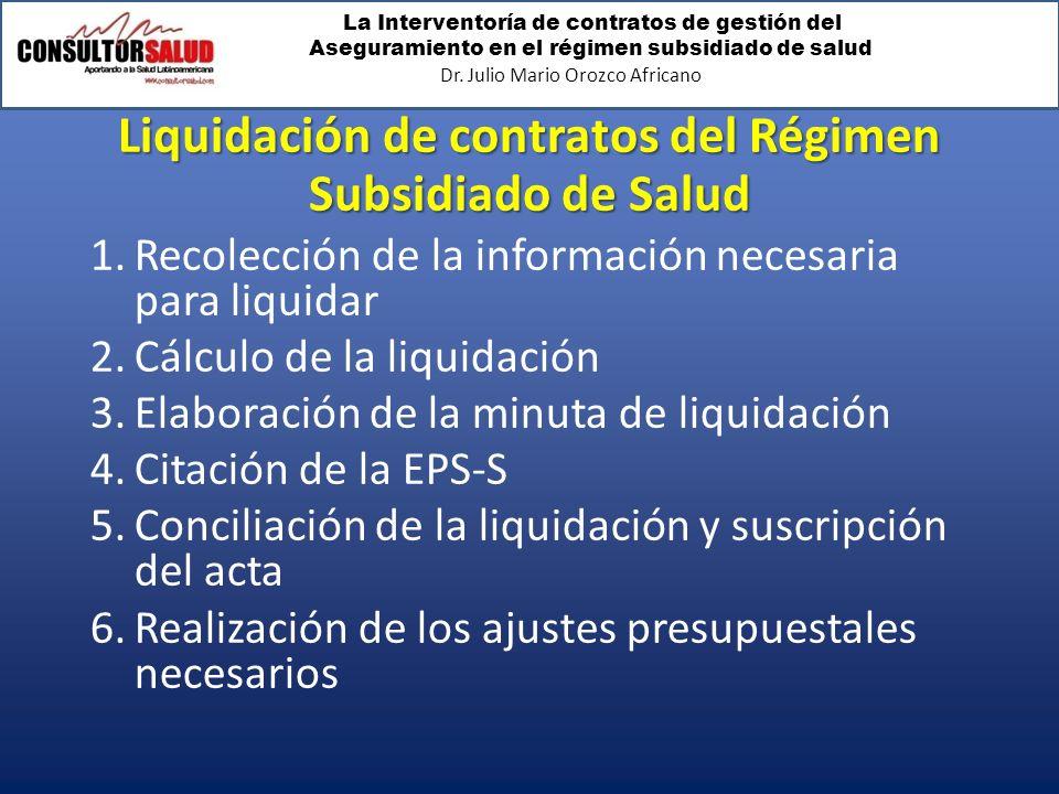 La Interventoría de contratos de gestión del Aseguramiento en el régimen subsidiado de salud Dr. Julio Mario Orozco Africano Liquidación de contratos