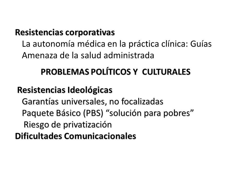PROBLEMAS POLÍTICOS Y CULTURALES PROBLEMAS POLÍTICOS Y CULTURALES Resistencias corporativas La autonomía médica en la práctica clínica: Guías Amenaza