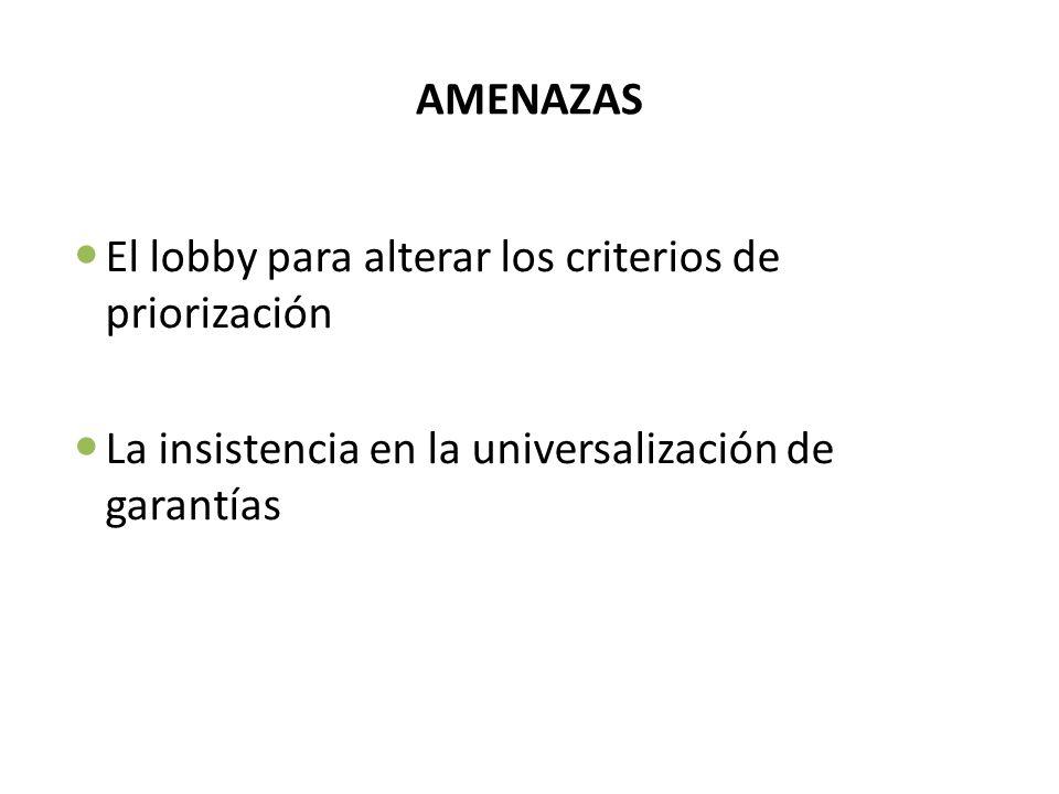 AMENAZAS El lobby para alterar los criterios de priorización La insistencia en la universalización de garantías