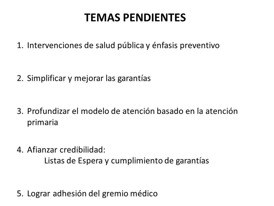 TEMAS PENDIENTES 1.Intervenciones de salud pública y énfasis preventivo 2.Simplificar y mejorar las garantías 3.Profundizar el modelo de atención basa