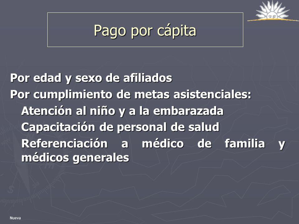 Pago por cápita Por edad y sexo de afiliados Por cumplimiento de metas asistenciales: Atención al niño y a la embarazada Capacitación de personal de s
