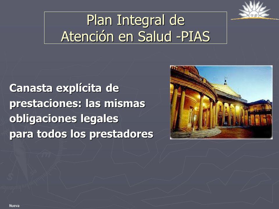 Plan Integral de Atención en Salud -PIAS Canasta explícita de prestaciones: las mismas obligaciones legales para todos los prestadores Nueva
