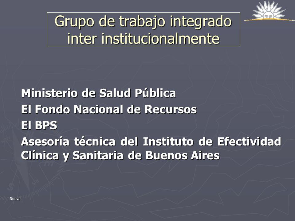 Grupo de trabajo integrado inter institucionalmente Ministerio de Salud Pública El Fondo Nacional de Recursos El BPS Asesoría técnica del Instituto de