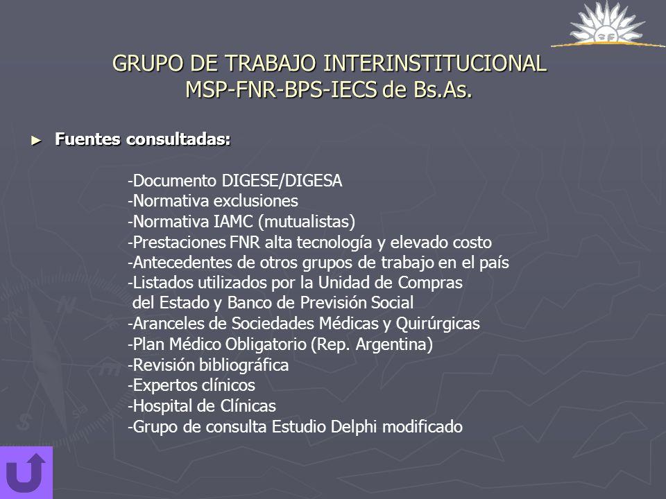 GRUPO DE TRABAJO INTERINSTITUCIONAL MSP-FNR-BPS-IECS de Bs.As. Fuentes consultadas: Fuentes consultadas: - Documento DIGESE/DIGESA - Normativa exclusi