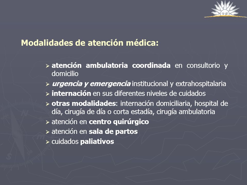 Modalidades de atención médica: atención ambulatoria coordinada en consultorio y domicilio urgencia y emergencia institucional y extrahospitalaria int