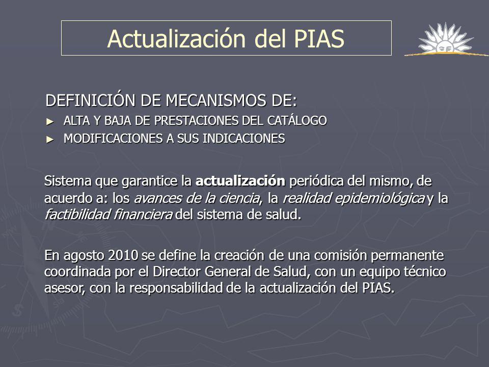 Sistema que garantice la actualización periódica del mismo, de acuerdo a: los avances de la ciencia, la realidad epidemiológica y la factibilidad fina