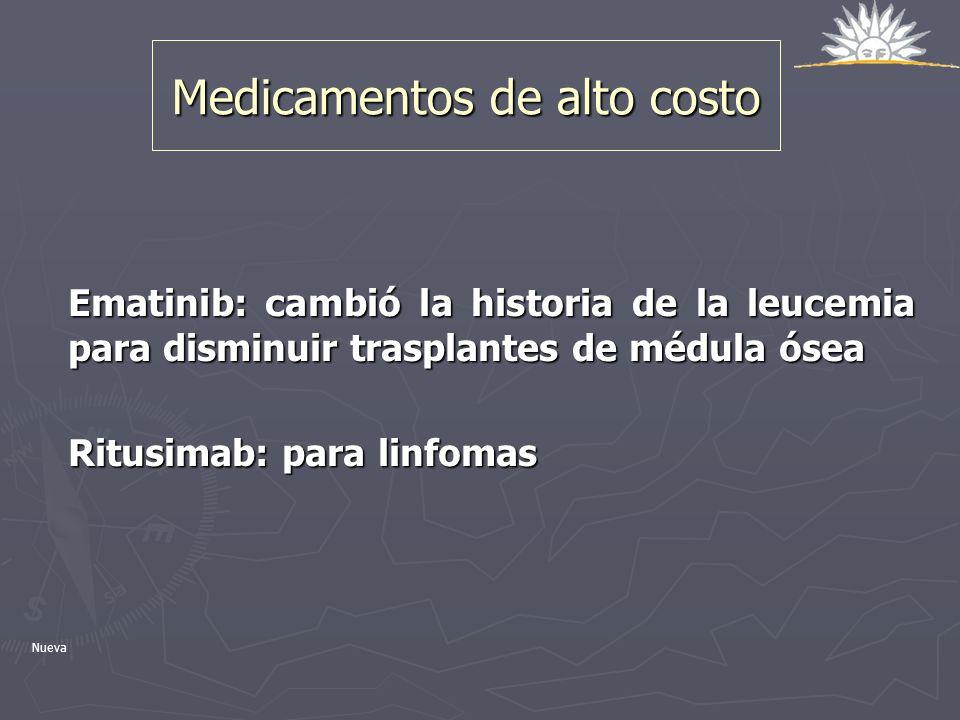 Medicamentos de alto costo Ematinib: cambió la historia de la leucemia para disminuir trasplantes de médula ósea Ritusimab: para linfomas Nueva