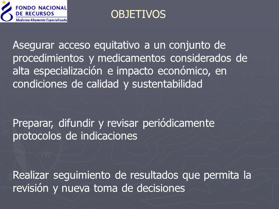 OBJETIVOS Asegurar acceso equitativo a un conjunto de procedimientos y medicamentos considerados de alta especialización e impacto económico, en condi
