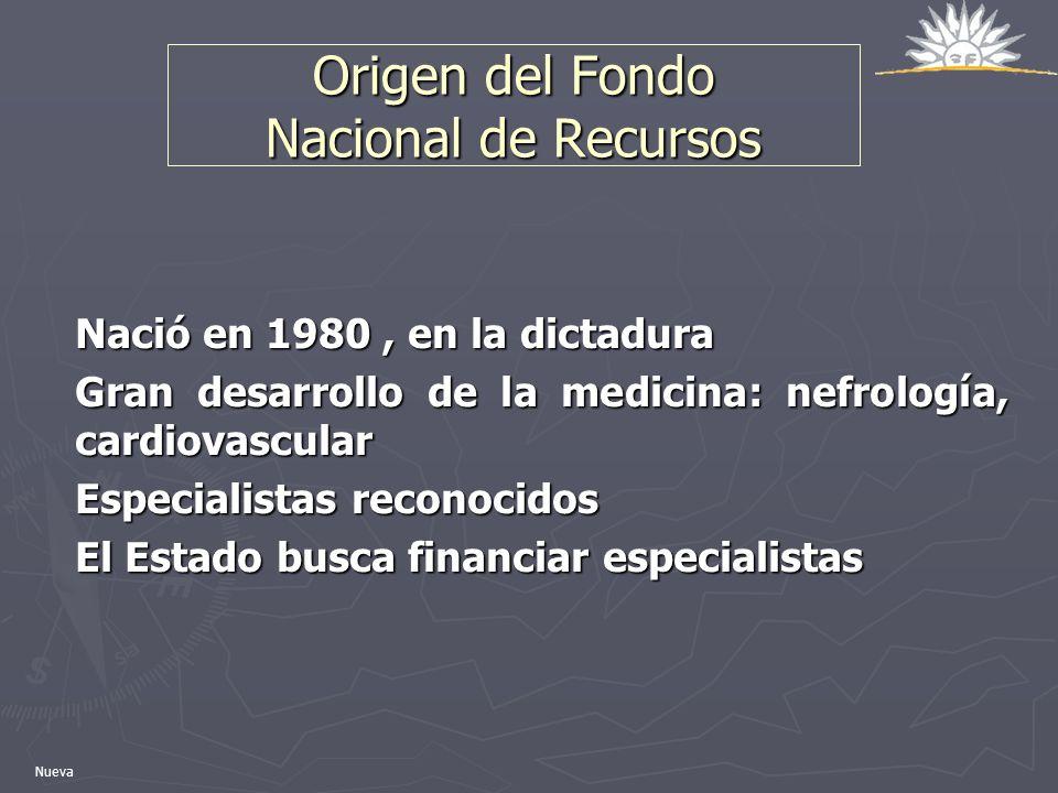 Origen del Fondo Nacional de Recursos Nació en 1980, en la dictadura Gran desarrollo de la medicina: nefrología, cardiovascular Especialistas reconoci