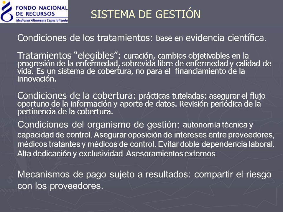 SISTEMA DE GESTIÓN Condiciones de los tratamientos: base en evidencia científica. Tratamientos elegibles: curación, cambios objetivables en la progres