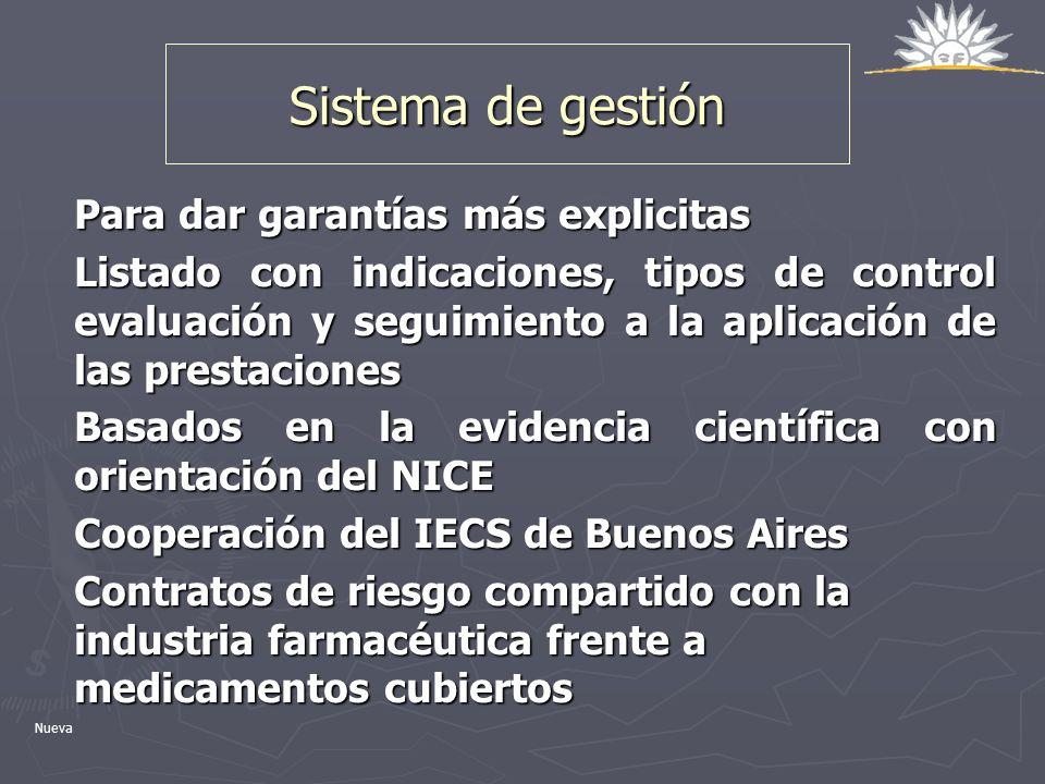 Sistema de gestión Para dar garantías más explicitas Listado con indicaciones, tipos de control evaluación y seguimiento a la aplicación de las presta