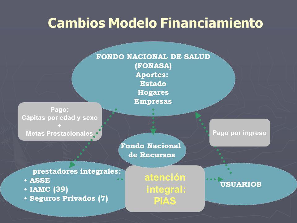 Cambios Modelo Financiamiento prestadores integrales: ASSE IAMC (39) Seguros Privados (7) USUARIOS FONDO NACIONAL DE SALUD (FONASA) Aportes: Estado Ho