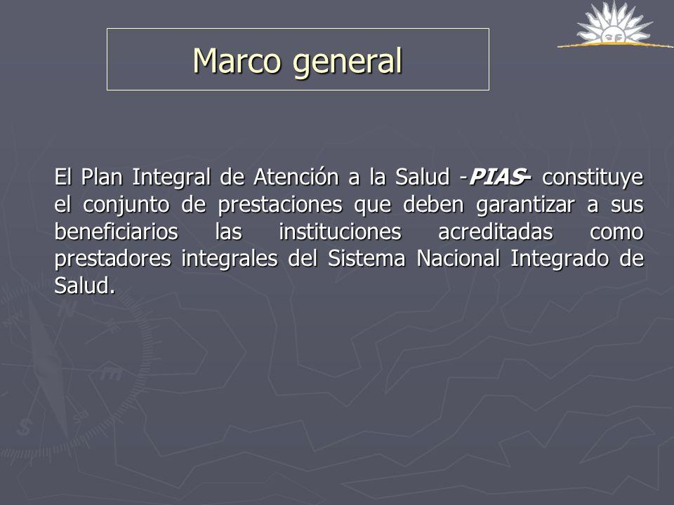 Marco general El Plan Integral de Atención a la Salud -PIAS- constituye el conjunto de prestaciones que deben garantizar a sus beneficiarios las insti
