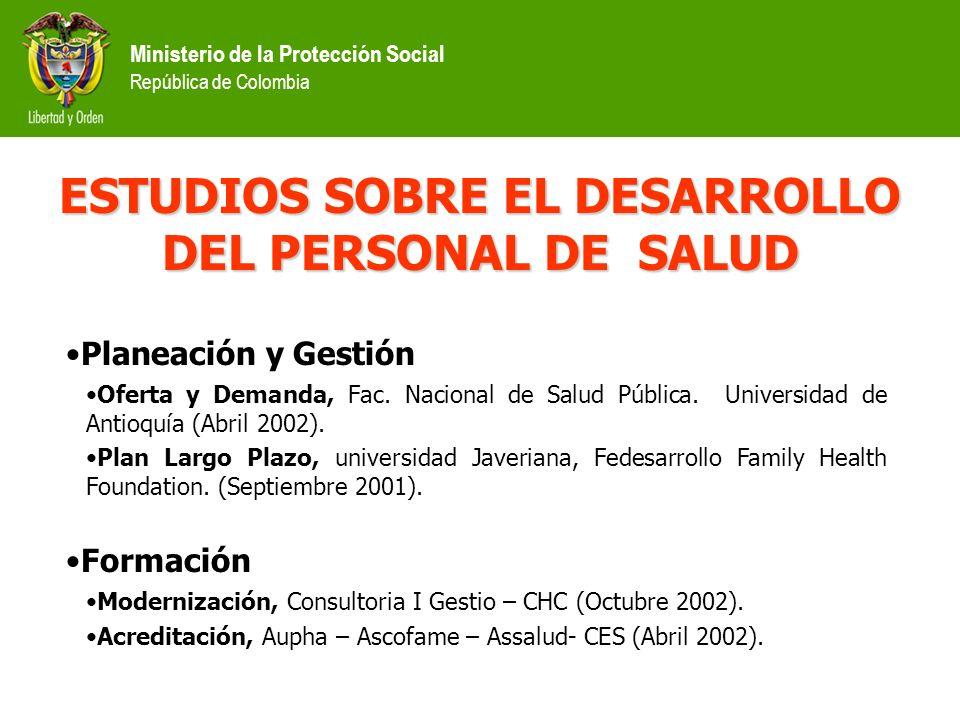 Ministerio de la Protección Social República de Colombia Financiado mediante crédito del Banco Interamericano de Desarrollo. Consideró como áreas prio