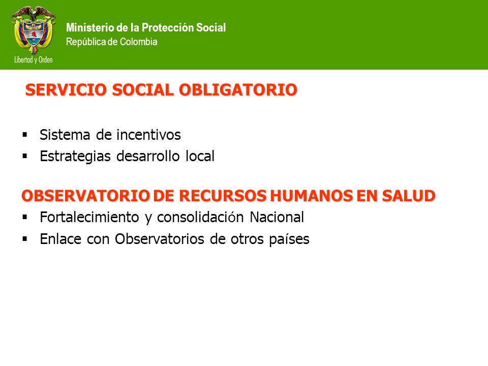 Ministerio de la Protección Social República de Colombia REGISTRO UNICO NACIONAL Mapa detallado del Talento Humano en Salud en el pa í s CERTIFICACION