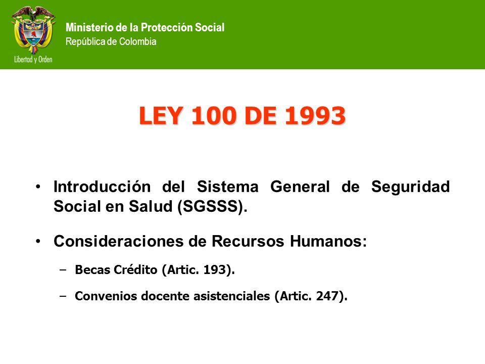 Ministerio de la Protección Social República de Colombia LEY 100 DE 1993 Introducción del Sistema General de Seguridad Social en Salud (SGSSS).