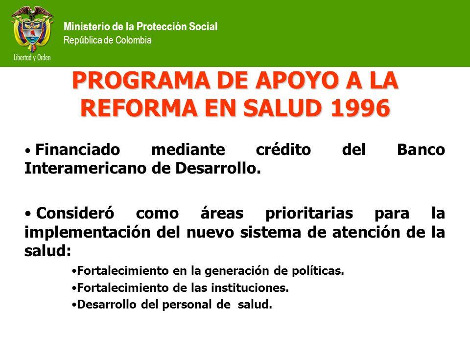 Ministerio de la Protección Social República de Colombia Financiado mediante crédito del Banco Interamericano de Desarrollo.