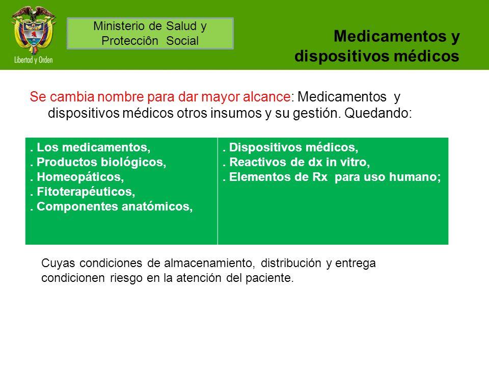 Medicamentos y dispositivos médicos Se cambia nombre para dar mayor alcance: Medicamentos y dispositivos médicos otros insumos y su gestión. Quedando: