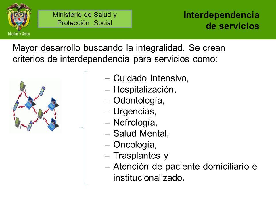 Interdependencia de servicios Cuidado Intensivo, Hospitalización, Odontología, Urgencias, Nefrología, Salud Mental, Oncología, Trasplantes y Atención