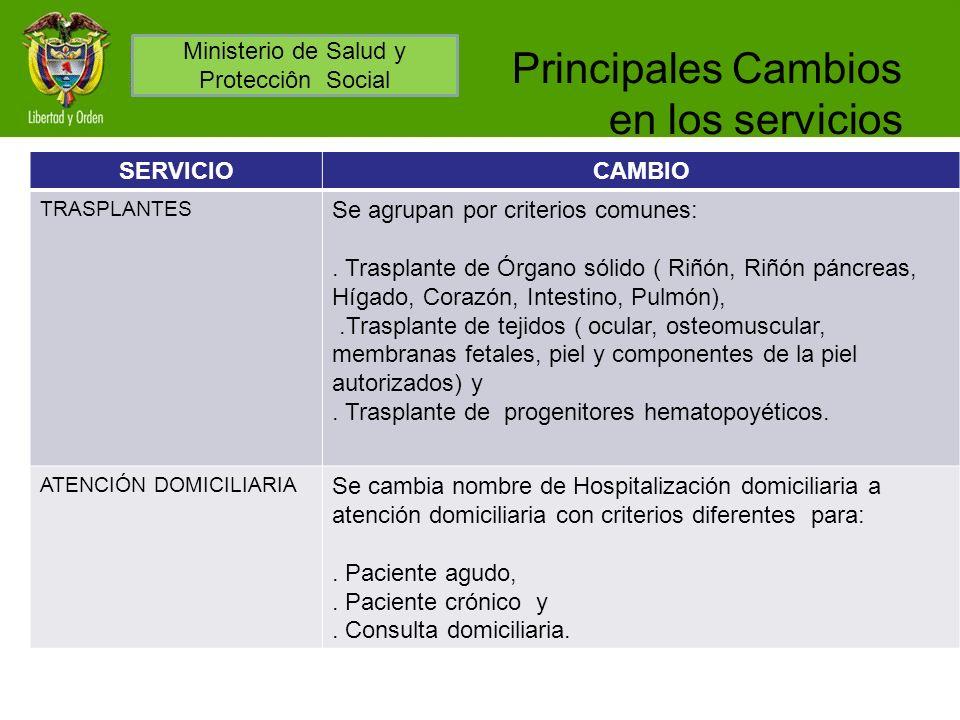 Principales Cambios en los servicios SERVICIOCAMBIO TRASPLANTES Se agrupan por criterios comunes:. Trasplante de Órgano sólido ( Riñón, Riñón páncreas