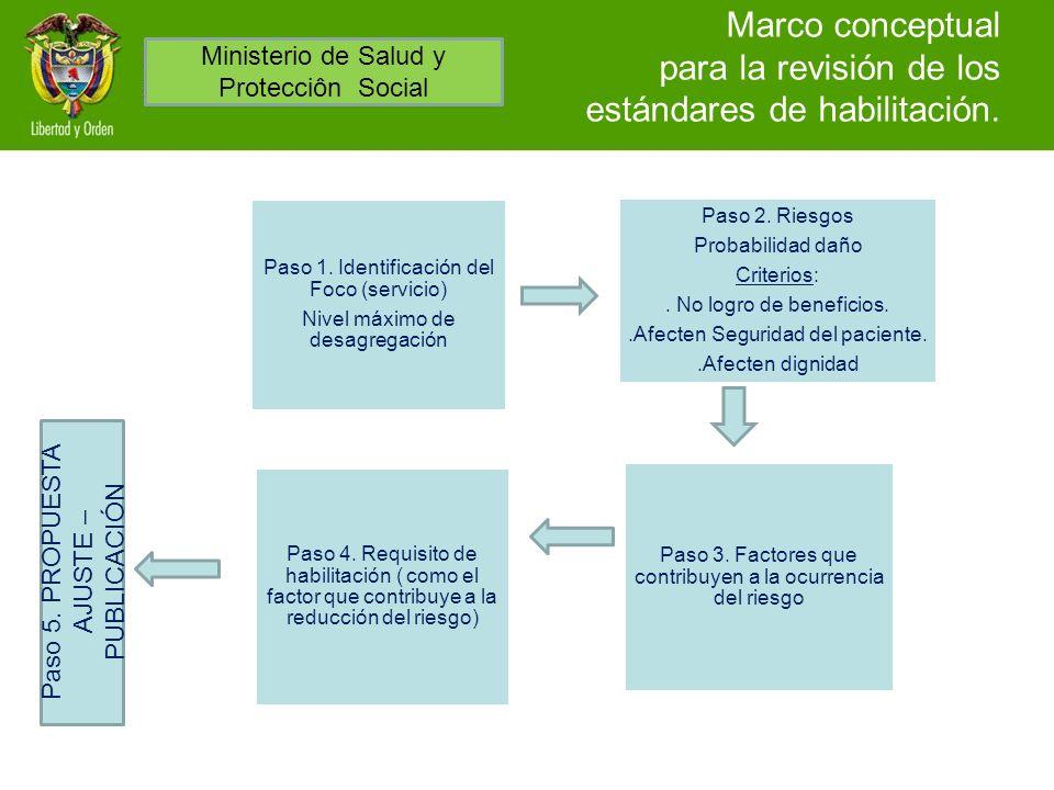 Marco conceptual para la revisión de los estándares de habilitación. Paso 1. Identificación del Foco (servicio) Nivel máximo de desagregación Paso 2.