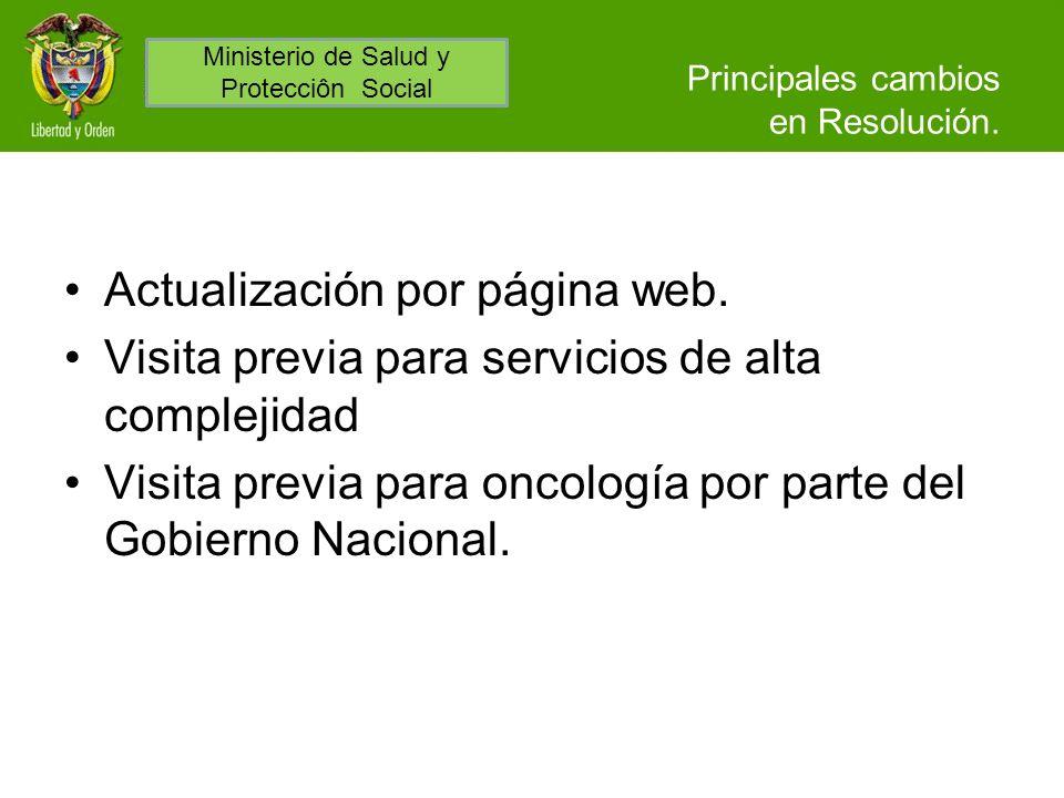 Principales cambios en Resolución. Actualización por página web. Visita previa para servicios de alta complejidad Visita previa para oncología por par