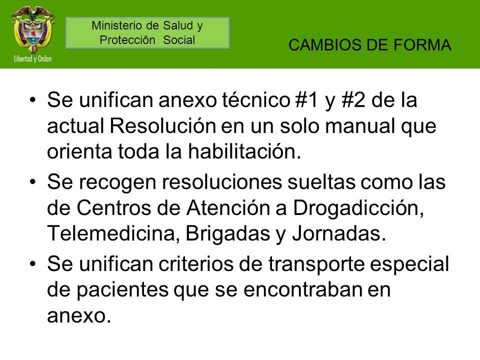CAMBIOS DE FORMA Se unifican anexo técnico #1 y #2 de la actual Resolución en un solo manual que orienta toda la habilitación. Se recogen resoluciones