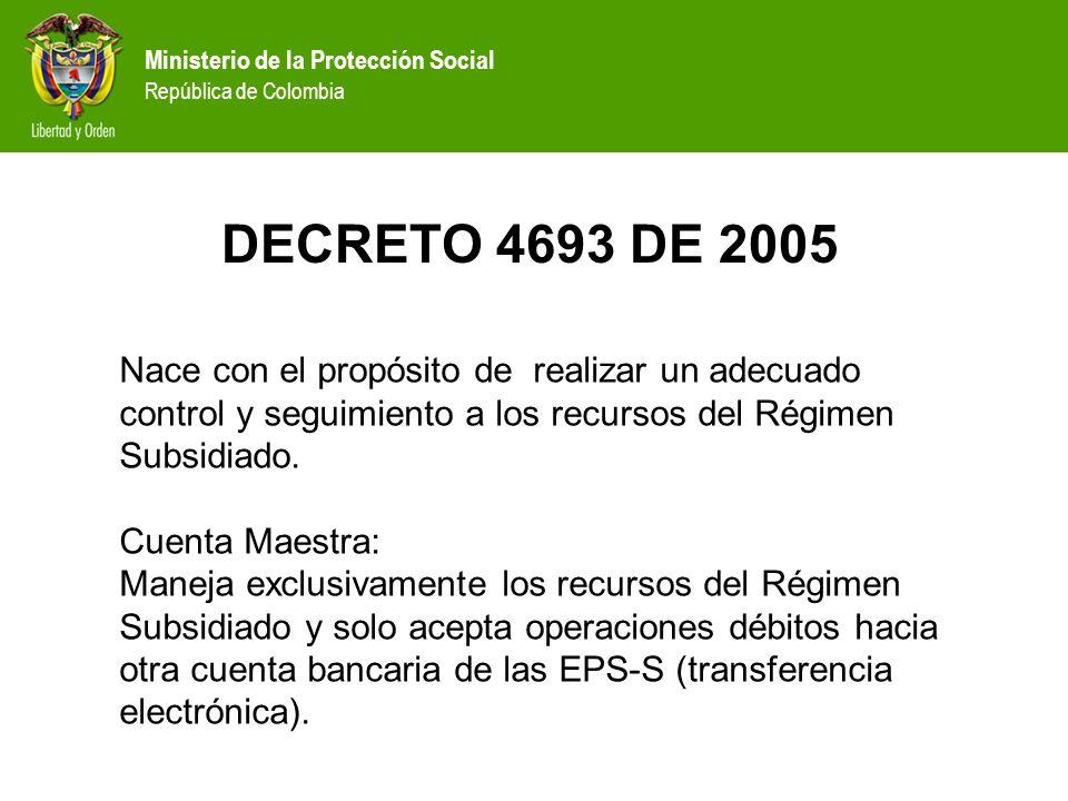 Ministerio de la Protección Social República de Colombia DECRETO 4693 DE 2005 Nace con el propósito de realizar un adecuado control y seguimiento a lo