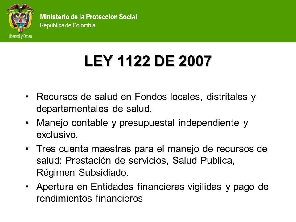 Ministerio de la Protección Social República de Colombia RESOLUCIÓN 3042 DE 2007 Define la estructura de los fondos de Salud, así como los ingresos y gastos de las subcuentas.