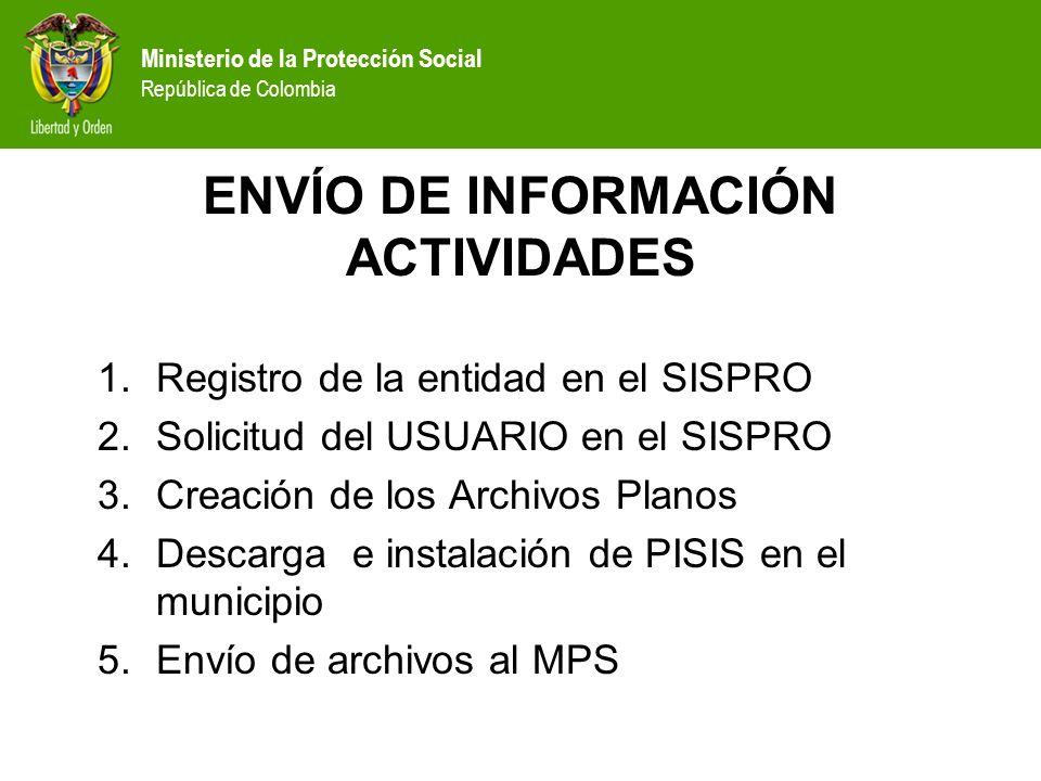 Ministerio de la Protección Social República de Colombia ENVÍO DE INFORMACIÓN ACTIVIDADES 1.Registro de la entidad en el SISPRO 2.Solicitud del USUARI