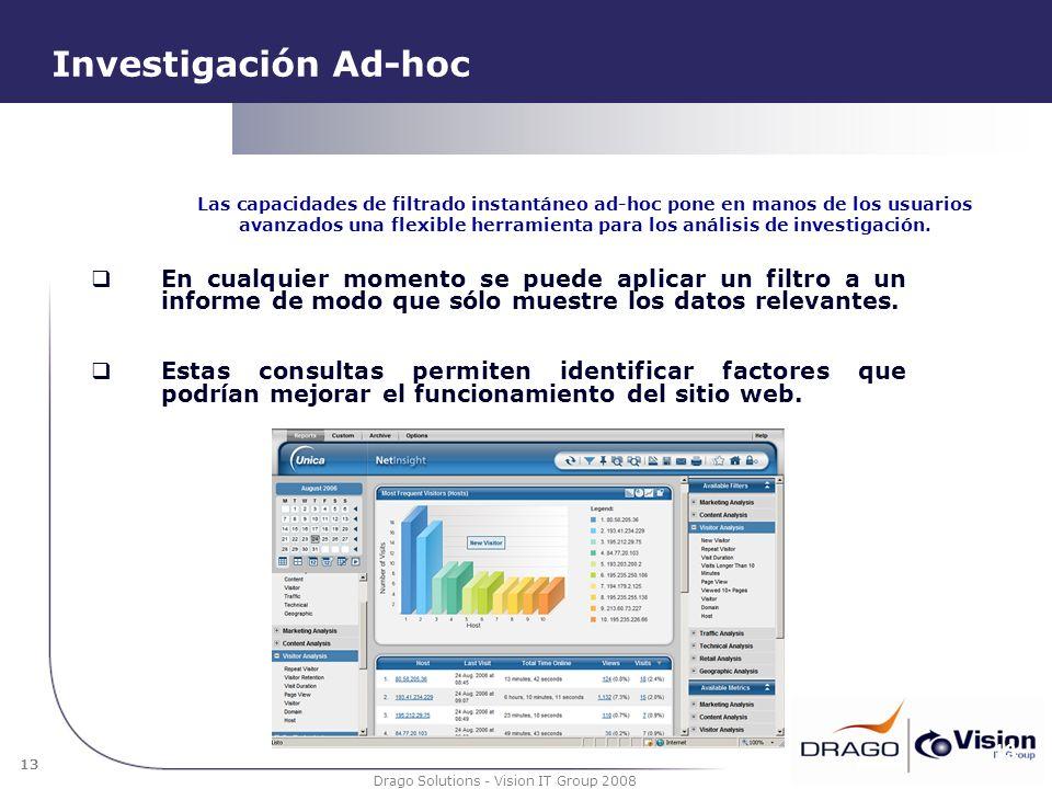 13 Drago Solutions - Vision IT Group 2008 Investigación Ad-hoc En cualquier momento se puede aplicar un filtro a un informe de modo que sólo muestre l