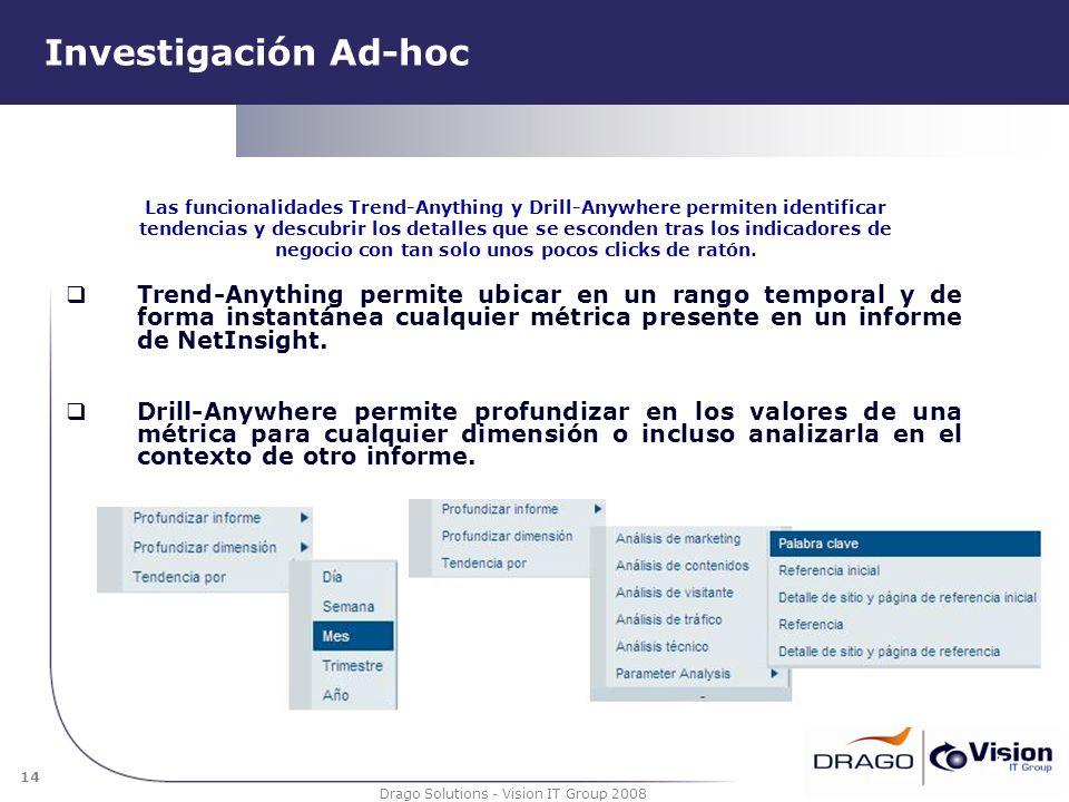 14 Drago Solutions - Vision IT Group 2008 Investigación Ad-hoc Trend-Anything permite ubicar en un rango temporal y de forma instantánea cualquier mét