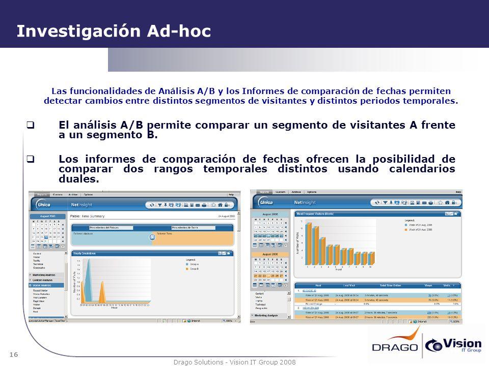 16 Drago Solutions - Vision IT Group 2008 Investigación Ad-hoc El análisis A/B permite comparar un segmento de visitantes A frente a un segmento B. Lo