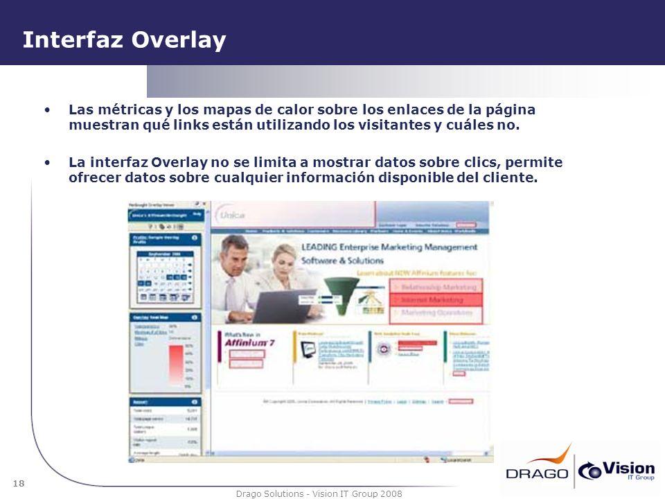 18 Drago Solutions - Vision IT Group 2008 Interfaz Overlay Las métricas y los mapas de calor sobre los enlaces de la página muestran qué links están u