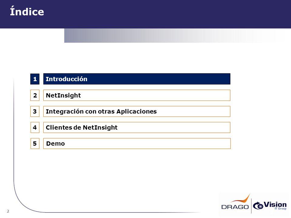 2 Índice 2 1 2 4 3 NetInsight Integración con otras Aplicaciones Introducción Clientes de NetInsight 5Demo