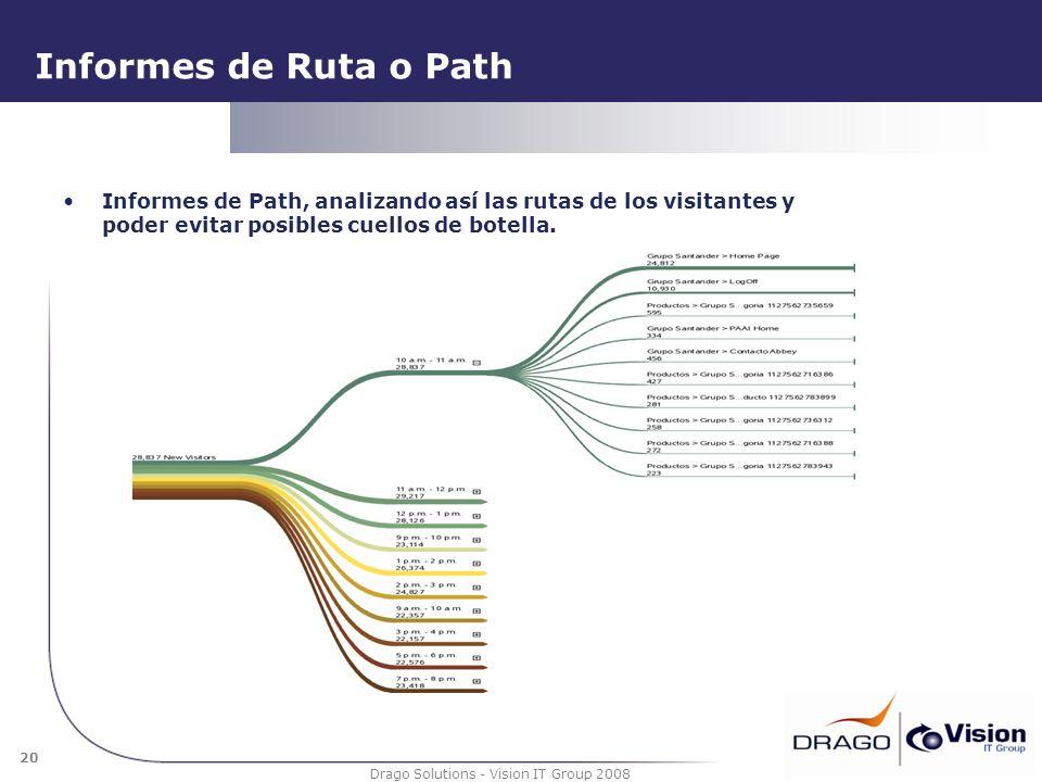 20 Drago Solutions - Vision IT Group 2008 Informes de Ruta o Path Informes de Path, analizando así las rutas de los visitantes y poder evitar posibles