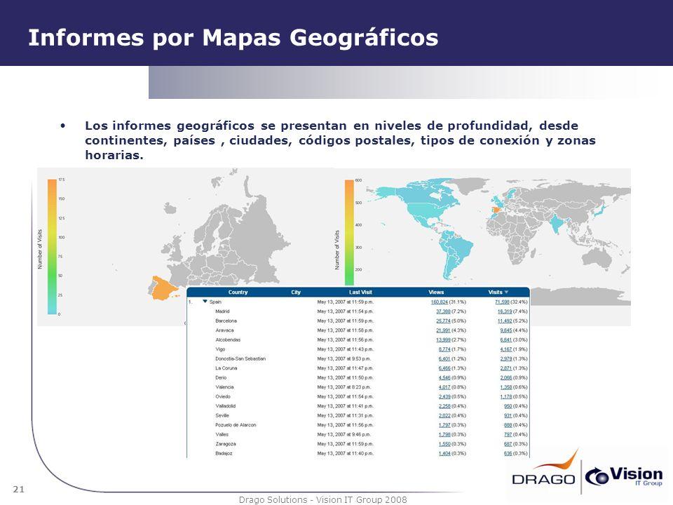 21 Drago Solutions - Vision IT Group 2008 Informes por Mapas Geográficos Los informes geográficos se presentan en niveles de profundidad, desde contin