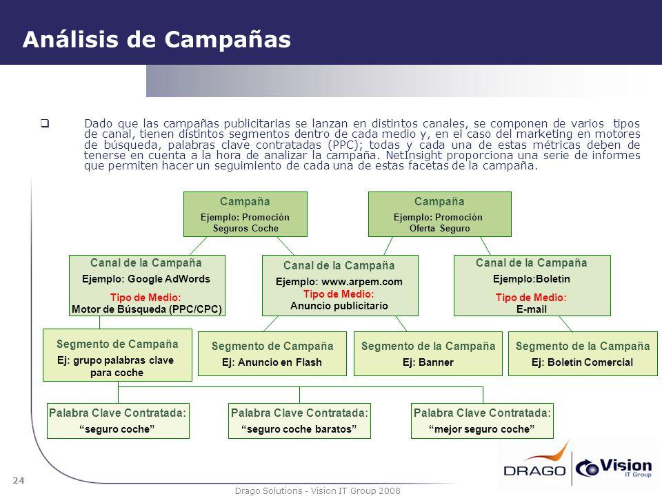 24 Drago Solutions - Vision IT Group 2008 Análisis de Campañas 24 Dado que las campañas publicitarias se lanzan en distintos canales, se componen de v
