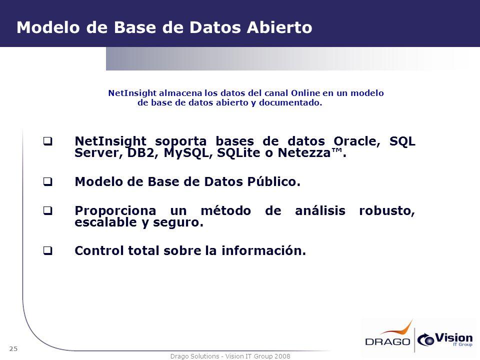 25 Drago Solutions - Vision IT Group 2008 Modelo de Base de Datos Abierto NetInsight soporta bases de datos Oracle, SQL Server, DB2, MySQL, SQLite o N