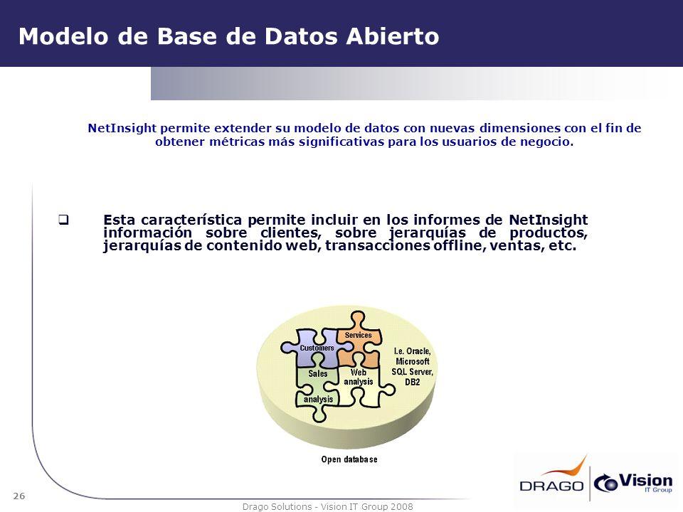 26 Drago Solutions - Vision IT Group 2008 Modelo de Base de Datos Abierto Esta característica permite incluir en los informes de NetInsight informació
