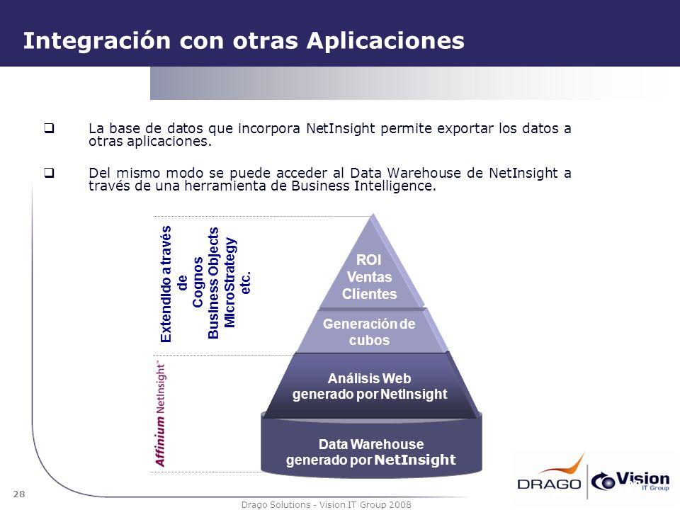 28 Drago Solutions - Vision IT Group 2008 Integración con otras Aplicaciones La base de datos que incorpora NetInsight permite exportar los datos a ot