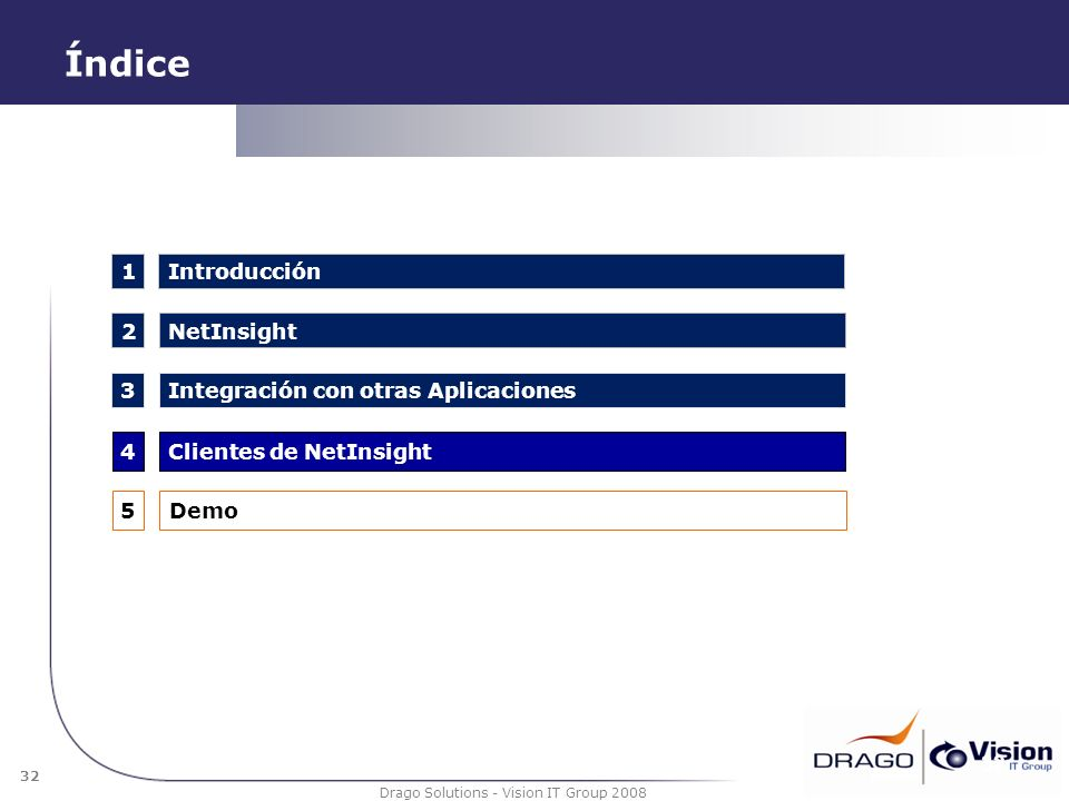 32 Drago Solutions - Vision IT Group 2008 Índice 32 1 2 4 3 NetInsight Integración con otras Aplicaciones Introducción Clientes de NetInsight 5Demo