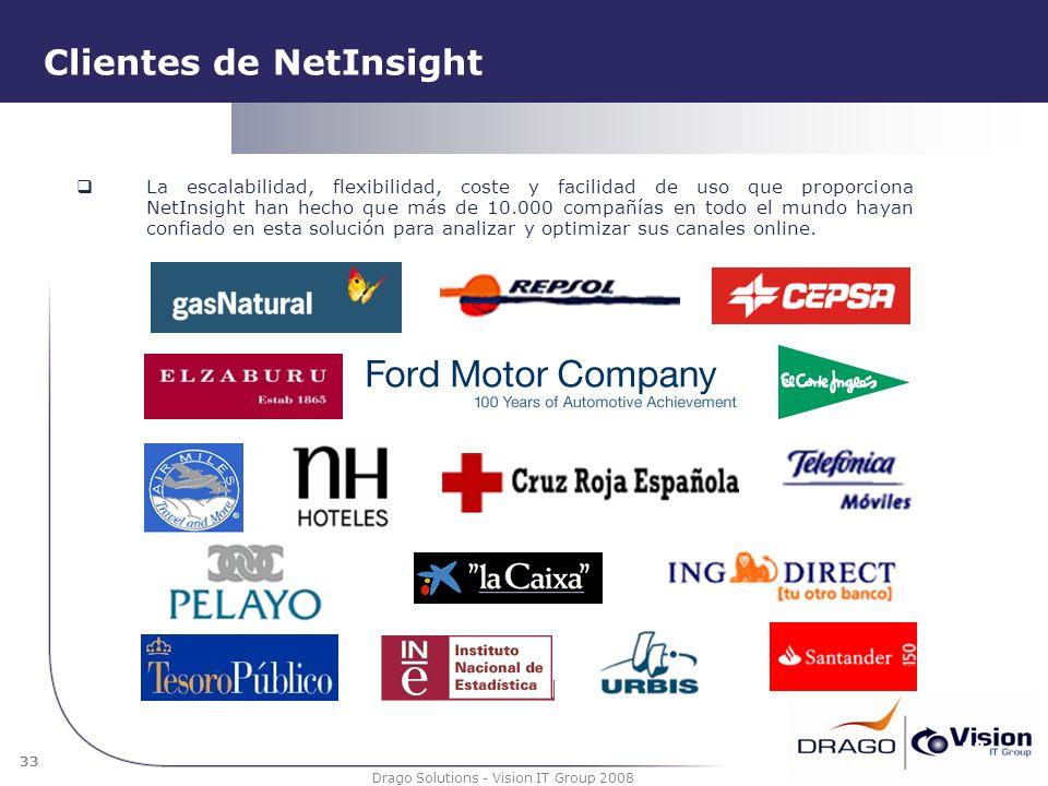 33 Drago Solutions - Vision IT Group 2008 Clientes de NetInsight La escalabilidad, flexibilidad, coste y facilidad de uso que proporciona NetInsight h