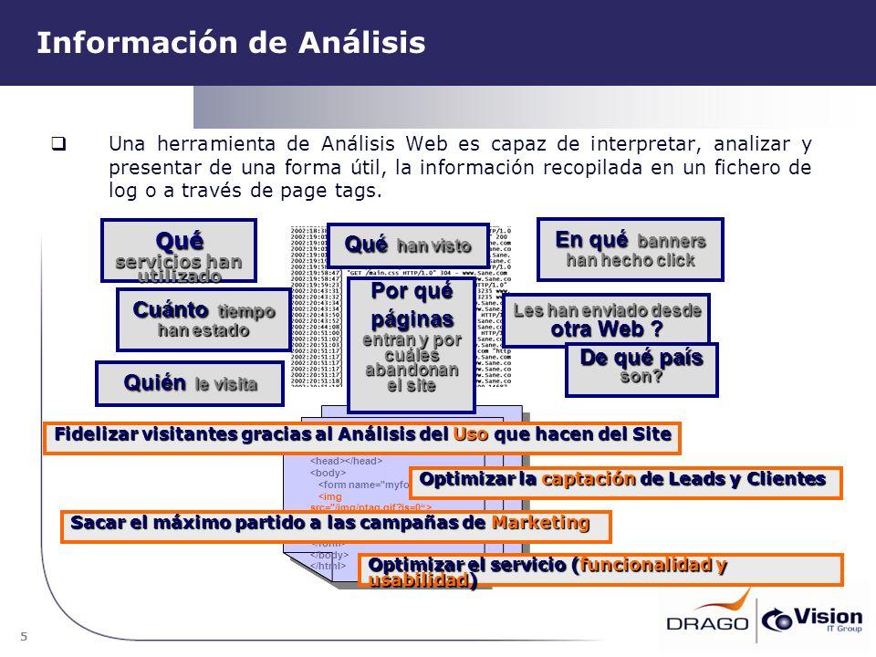 5 Información de Análisis Una herramienta de Análisis Web es capaz de interpretar, analizar y presentar de una forma útil, la información recopilada e